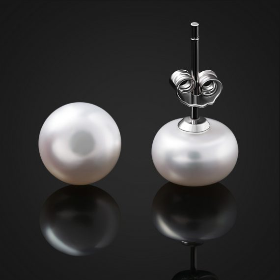 Pendientes de Plata con Perla Botón de 24Joyas 2