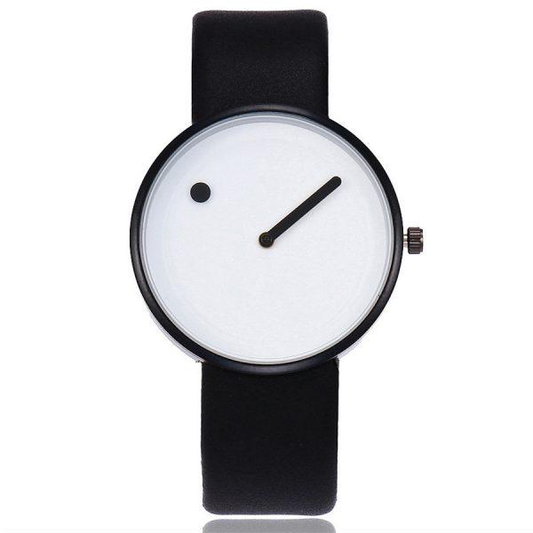 Reloj Unisex Minimalista Punto Raya de Cuarzo y Correa de Cuero Negra