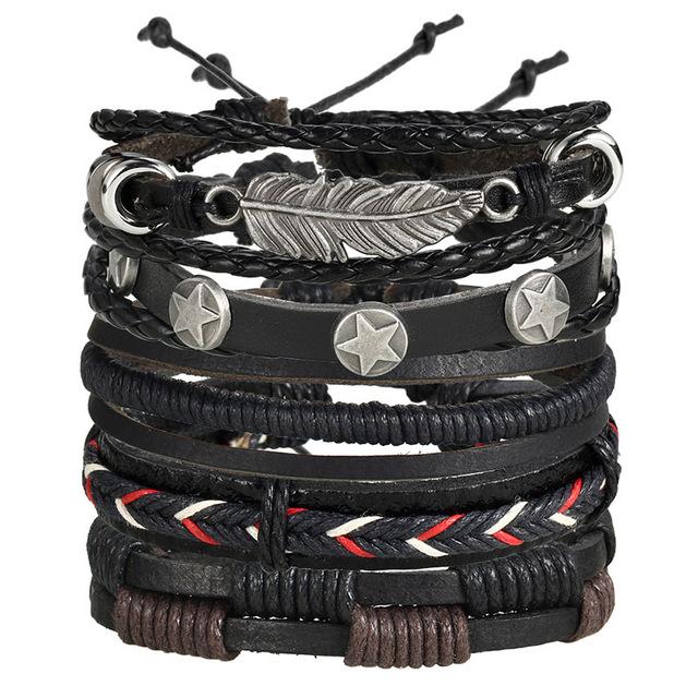 f4ed2a64d1a6 Brazalete de Pulseras de Cuero Hombre estilo vintage hecha y trenzadas a  mano – 24Joyas tienda de compra de relojes y joyas