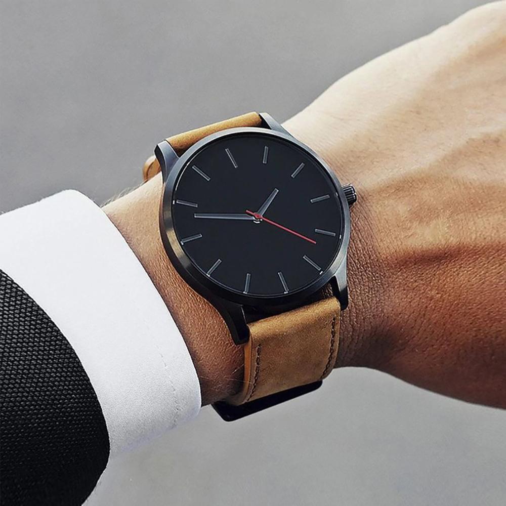 54575af44355 Reloj Elegante de Cuarzo con Correa de Cuero para Hombre – 24Joyas ...